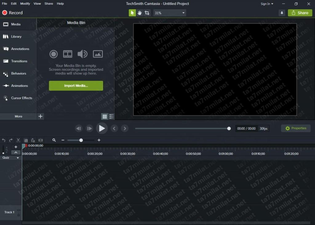 واجهة برنامج camtasia studio 2020 اخر اصدار