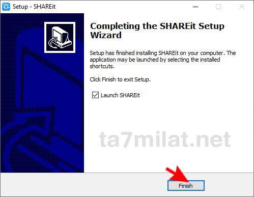 انهاء تثبيت ShareIt للكمبيوتر