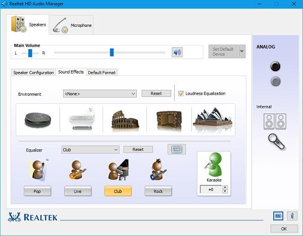 برنامج Realtek HD Audio Manager