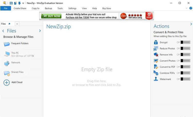 واجهة برنامج winzip