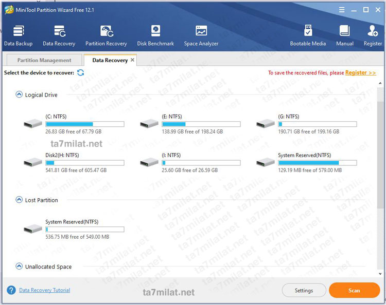 استعادة البيانات باستخدام MiniTool