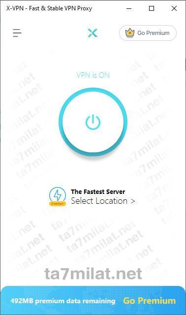 واجهة برنامج X VPN للكمبيوتر ويندوز 10 8 7